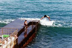 Bokeh memories (Maine Surfer) Tags: travel sea summer vacation sky people cloud black beach seaside sand russia bokeh ukraine memory past crimea yalta   alushta