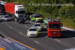 Police and fire vehicles (Nigel Blake, 13 MILLION...Yay! Many thanks!) Tags: road truck canon for smash crash accident near south 4 north over safety lorry hours closing bishops stortford load adhesive turns trafficjam congestion m11 prang smashup carriageways nigelblake nigelblakephotography