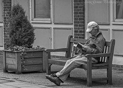 Bide awhile. (John's taken it. On and 0ff for a bit.) Tags: man bench book read rest hythe