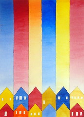 Volpi-like 01, by Mrcia - DSC04271 (Dona Mincia) Tags: art painting watercolor study paper homage tribute inspired relecture rereading volpi stripes roof houses arte pintura abstract aquarela homenagem releitura inspirado listras colunas colimns telhado casa abstrato
