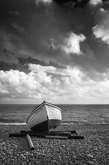Second Best (Bruus UK) Tags: budleigh salterton devon boat marine beach sea coast pebbles shingle clouds seascape landscape blackwhite bw alone windy blustery waves choppy