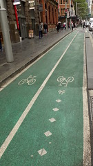 Sydney city NSW Bicycle tracks in roadway 5 (Bicycle track in inner city roadway) - Sept 2016 (nicephotog) Tags: sydney nsw road city transport green bicycle track traffic signal lights crossing pedestrian