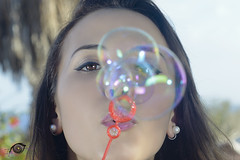 The Beauty and Bubbles (Igtocru Photography) Tags: nikon d800 strobist softbox umbrella sb910 sb700 50mm portrait people beauty woman bubbles blow pretty