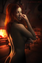 Red flame, red hair (Mark Frost :)) Tags: cg cgi render 3d model daz studio computer generated image sexy woman naked warm fire light hair red orange skin portrait flame dark buttocks breasts
