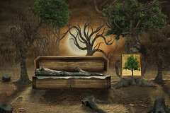 The loss of a friend (Geraldas) Tags: abandoned apocalypse art beauty cataclysm collage danger dead design drought dusk ecology evening fantasy future global illustration imaginary itwitheredaway landscape last leaves lonely manipulation mystery nature nice old one plant poster protected sky time tree funeral casket grave stump moon