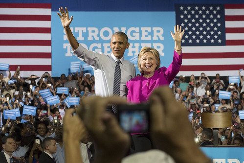 President Barack Obama appearing with former Secretary of State Hillary Clinton at Charlotte Convention Center, North Carolina
