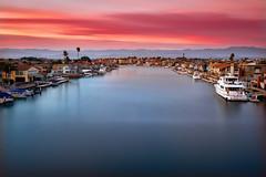 Harbor Sunset (David Shield Photography) Tags: breastcancerawarenessmonth harbor ventura oxnard california landscape seascape sunset clouds water sky longexposure color light nikon