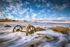 Stranded (Tony Emery Fotos) Tags: seaham wheels chemical beach sunrise sunset sand water waves clouds long exposure nikon