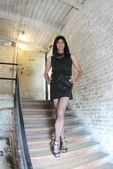 Leather Dress 2 (Hannah McKnight) Tags: tgirl transgender transgirl model crossdress crossdresser stilettos fishnets leather