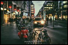 Red scooter (Krueger_Martin) Tags: berlin bokeh beyoundbokeh friedrichstrase traffic verkehr rot roller scooter red light lights licht hdr photomatix festbrennweite primelense 30mm weitwinkel wideangle sigma sigma30mmf14exdchsm canoneos7d canon city stadt urban colorful bunt farbig