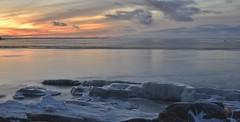 Fäboda in ice, sun setting (today at 14.46) darkness is here.. (Mika Lehtinen) Tags: fäboda slowshutter slow smooth sea water rock rocks snow ice