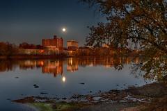 Super moon over Trenton NJ (Ed Blazejewski) Tags: supermoon moon water delaware river trenton night sky