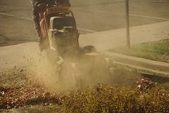 Leaf Mulching (Let Ideas Compete) Tags: colorado leaves mulch mulching machine dust dusty fallenleaves mowing mower lawn