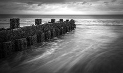 The Groyne (Red King (Rory)) Tags: groyne beach sand sea mono black white amroth pembrokeshire wales