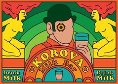 Korova Milk Bar (scott balmer) Tags: exhibition artshow gallery1988 film movie aclockworkorange postcard graphic vector retro korova alex droog vivd color colour