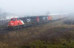 Foggy GEVOS (Joseph Bishop) Tags: cn 3075 ge et44ac tier4 cndundassubdivision brantford gardenave trains train track tracks railfan railroad railway rail rails fog foggy