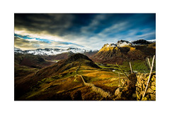 Side Pike and Langdale - Explore 28.11.2016 - No. 18 (muddybootsuk) Tags: langdale sunset dusk sidepike bleatarn harrisonstickle paveyark sticklegill lakedistrict muddybootsuk cumbria england mountains landscape winter snow drystonewall clouds sky valley green greatbritain cumberland