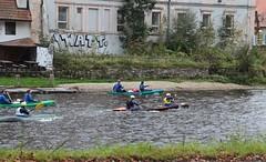 Race Day on the Vltava River 01 (smilla4) Tags: paddling boats race vltavariver moldau rozemberknadvltavou czechrepublic graffiti