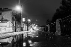 Unwitting night reflection -    (Valery Parshin) Tags: ingermanland night valeryparshin russia street light pleinair saintpetersburg stpetersburg canoneos600d canonefs24mmf28stm monochrome blackandwhite