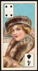 Cigarette Card - 4 of Spades (cigcardpix) Tags: cigarettecards advertising ephemera vintage beauty playingcard