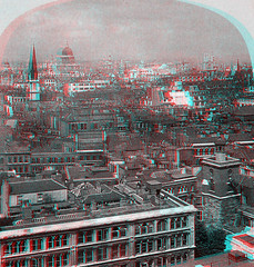 London in 3D01-View Over City (Anaglyph) (Phaota2) Tags: city roof building london rooftop vintage buildings photography book photo 3d cityscape rooftops anaglyph roofs stereo photograph cityview