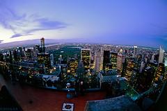 Top of The Rock Observation Deck (Tele Rokkor-X) Tags: nyc newyorkcity film evening minolta kodak centralpark rockefellercenter slide fisheye ektachrome e6 xd7 manualfocus topoftherock e100g rokkor observatondeck