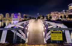 Canoe Bridge - Explored! (Alexis Birkill Photography) Tags: city canada skyline night vancouver lights downtown cityscape bc dusk britishcolumbia photowalk bluehour olympicvillage geodesicdome scienceworld canoebridge scottkelby worldwidephotowalk wwpw