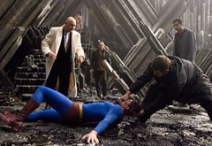 Superman beaten by Lex Luthor (Guardian Screen Images) Tags: blue red film up comics movie lost book dc costume kevin comic brothers attack brandon books super 2006 tights superman suit warner hero superhero cape trunks tight bros lex beaten spandex lycra attacked returns routh luthor spacey lossing