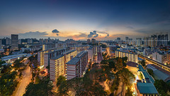 Urban Expanses (Scintt) Tags: singapore redhill hdb housing urban apartments public flats modern cityscape skyline structure architecture stitched panorama lights night evening dusk sunset twilight dramatic vibrant exploration colours lee filters blending travel bukit merah sky clouds sun rays soft glow scintillation scintt