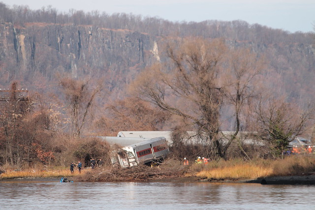 Scene at Metro-North train derailment, Bronx, Dec. 1, 2013, as viewed from Inwood Hill Park