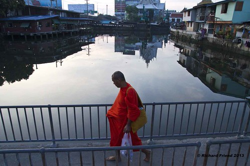 Monk on the waterfront, Phra Khanong, Bangkok