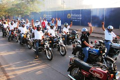 Ridestart lineup (Yazed RD350 Lord) Tags: red white ride parade safety yamaha rides riders rd350 2013