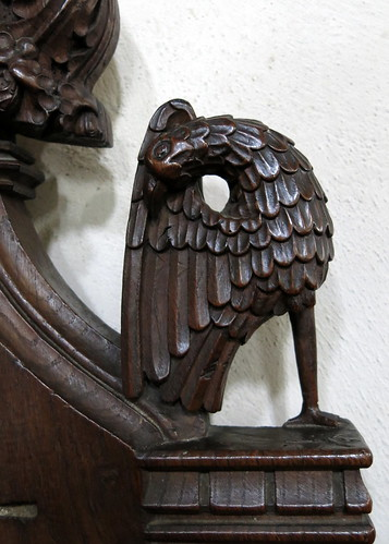 15th C. bench end armrest carving (an eagle?), the Church of St Mary, Dennington, Suffolk