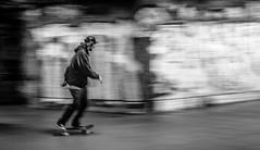 left to right (Richard Parmiter) Tags: blackandwhite motion london grafitti skateboarding southbank skateboard panning se1 londonist southbankcentre