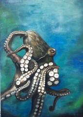 painting octopus (Cactus Jumper) Tags: ocean blue green meer acrylic canvas octopus petrol grün blau tentacle acryl kraken deepsea ozean leinwand saugnäpfe tentakel tiefsee