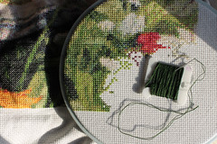 The End is in Sight 01172014 (Orange Barn) Tags: thread hoop project crossstitch needle bobbin dmc obsessed darkgreen 890 countedcrossstitch dmcthread 365daysincolour