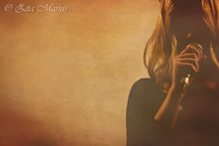 Freia music (Zita M.photography) Tags: shadow portrait music color texture young singer blonde mysterious microphone