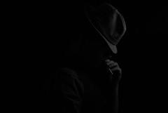 Diem perdidi (Lekzi) Tags: portrait blackandwhite selfportrait man hat self blackwhite nikon cigarette suit 50s 1950 d80 tamron1750mmf28 nikond80