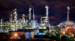 Landscape of oil refinery industry (anekphoto) Tags: auto light chimney sky plant tower industry metal night landscape automobile energy industrial factory technology tank power smoke pipe engineering storage steam gas sphere pollution chemistry oil production environment worker powerplant gasoline product heavy refinery liquid pipeline engineer boiler fuel chemical petroleum boil capacity manufacturing pollute petrochemical pollutant refine refinement