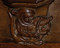 Walsall, West Midlands, St. Matthew's church, stalls, north side, misericord (groenling) Tags: wood uk greatbritain england dragon britain tail carving bow gb fiddle viola staffordshire westmidlands stalls woodcarving walsall misericord stmatthewschurch mmiia