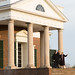 Monticello President Leslie Greene Bowman with President Obama and President Hollande on the steps of the West Portico