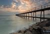 Hot Colors Sunrise! Kuwait Towers Pier Beach (AlkhashabNawaf) Tags: blue sea seascape hot tower beach yellow clouds sunrise pier nikon rocks waves towers kuwait nikkor d800 nawaf 1635 الوان الكويت بحر شروق نيكون alkuwayt لاندسكيب alkhashab دي٨٠٠