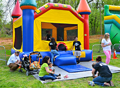 The moon bounce was a very popular destination for the kiddies