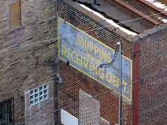 (Shane Henderson) Tags: old blue windows roof red brown sign yellow architecture corner pittsburgh arch painted bricks pipe stained faded cables wires worn weathered southside distressed southshore glassblocks ghostsign ghostad standardmachinistssupplyco shippingandreceivingdept