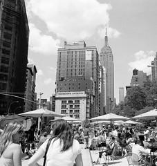 empire state bbq (SHARPSHOOTA.com) Tags: street new york city nyc summer building 120 mamiya film photography state brian bbq empire hp5 6x7 ilford 7ii ramnath sharpshootacom