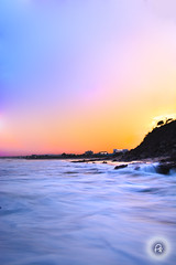 beach hill (Perpetually Shaw) Tags: longexposure sunset orange sun india beach beautiful silhouette landscape nikon perfect exposure surf waves purple vibrant professional shade slowshutter vizag landscapephotography nikonclub sunsirse nikond5200