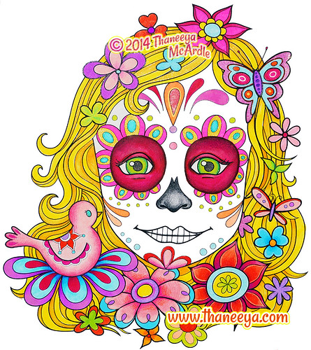 Portrait Drawing Of A Girl Wearing Sugar Skull Makeup By Thaneeya McArdle