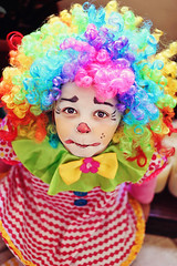 little clown (sharmphotography) Tags: show birthday carnival red party playing halloween colors smile studio fun happy person one costume kid comic child mask bright circus expression space clown small joy humor young happiness celebration entertainment whitebackground littlegirl isolation copyspace isolated enthusiasm clownnose rainbowcolors