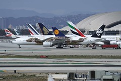 ZK-OKO (IndiaEcho) Tags: california new usa canon airplane eos los airport angeles aircraft aviation air lord aeroplane special rings zealand civil boeing lax hobbit airliner airfield the livery 777300 klax of 1000d zkoko