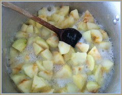 8243 v1 Stewing apple (Andy - Daft as a brush - don't ask!) Tags: 20161017 aaa apples bbb bramleyapples ccc cookingapples pan ppp sss stewing